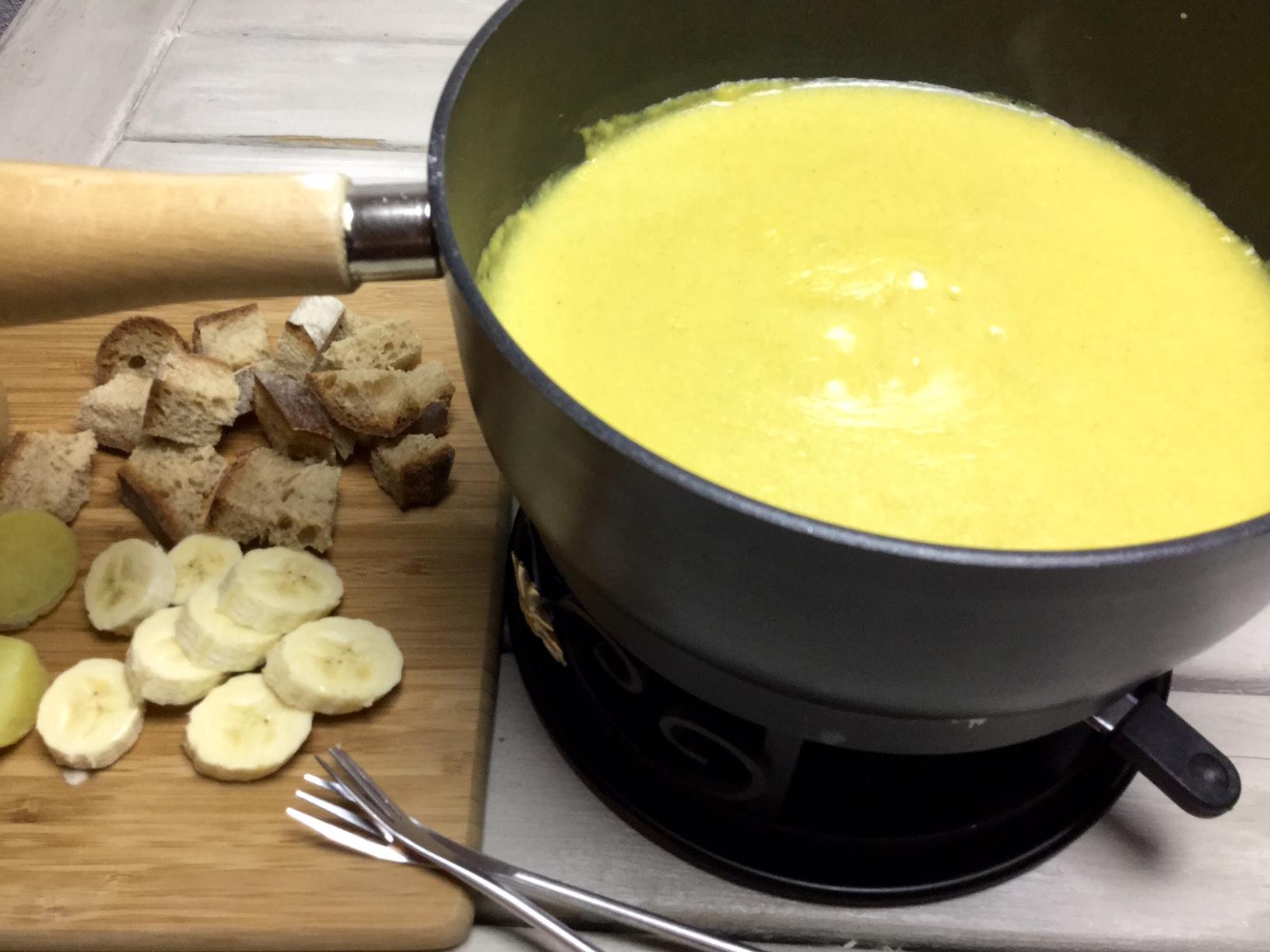 Rezept veganes Curry Fondue