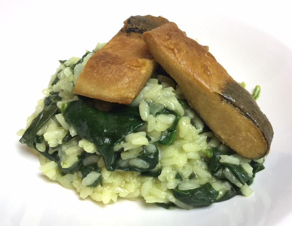Spinat-Risotto mit Veggie Fischfilet