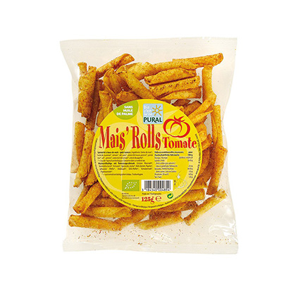 Pural Mais Rolls Tomate Chips 125g